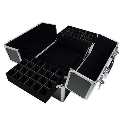 Kuferek kosmetyczny 2 poziomy czarny