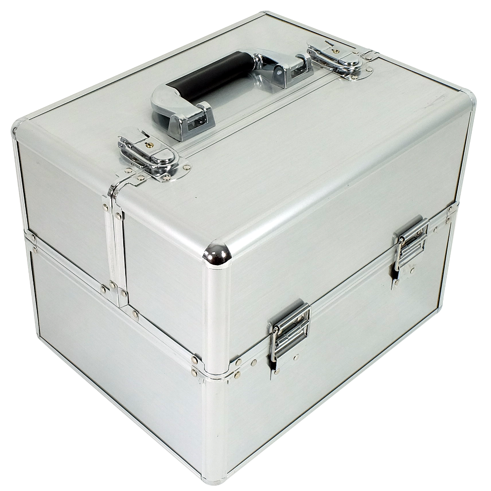 Kuferek kosmetyczny mały 6 półek srebrny