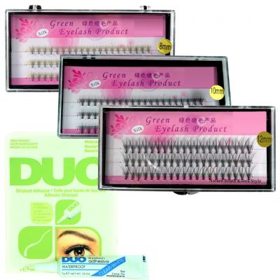 Zestaw rzęsy kępki 8,10,12 mm + klej DUO Clear 7g