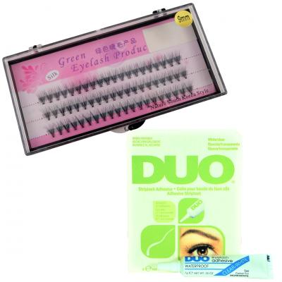 Zestaw rzęsy kępki 9 mm profil C+klej DUO Clear 7g