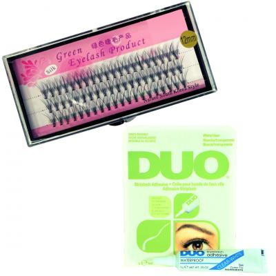 Zestaw rzęsy kępki 12mm profil C+klej DUO Clear 7g