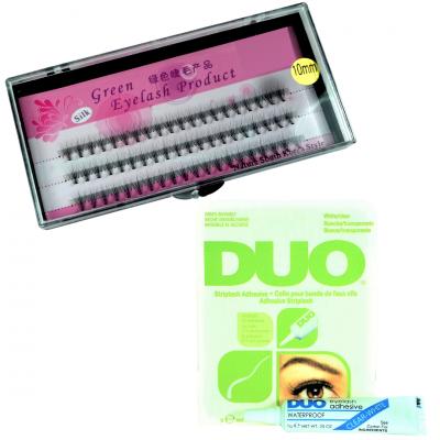 Zestaw rzęsy kępki 10mm profil C+klej DUO Clear 7g