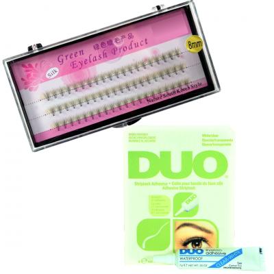 Zestaw rzęsy kępki 8 mm profil C+klej DUO Clear 7g