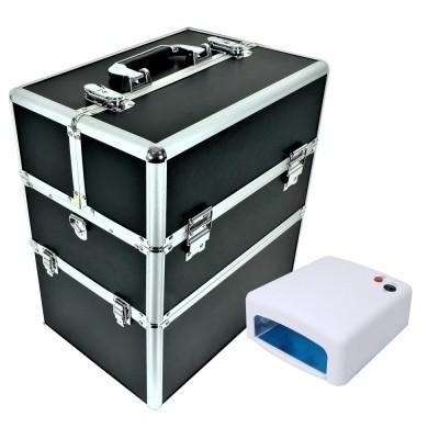 Zestaw kuferek czarny duży + lampa UV